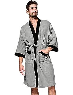 047d8260b6 Jearey Men s Kimono Robe Cotton Waffle Spa Bathrobe Lightweight Soft Knee  Length Sleepwear with Pockets