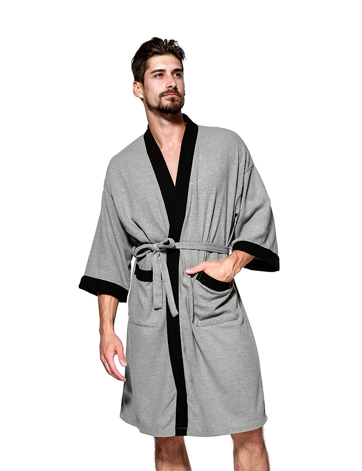 Jearey Men's Kimono Robe Cotton Waffle Spa Bathrobe Lightweight Soft Knee Length Sleepwear with Pockets(Grey-Black, L)