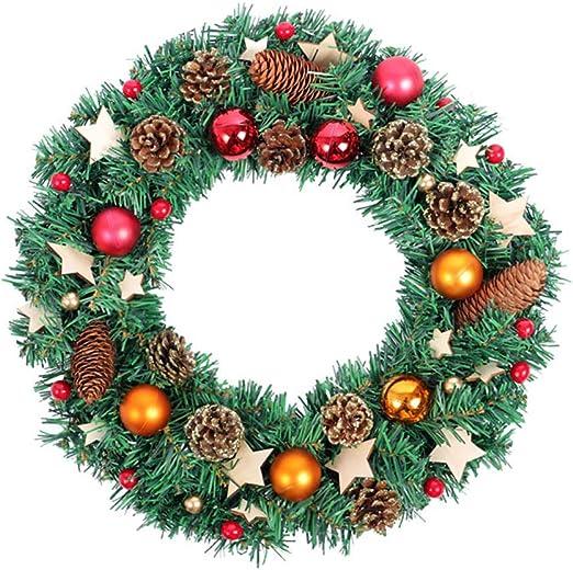 Christmas Wreath Garland Door Window Wall Hanging Decoration Rattan Lights