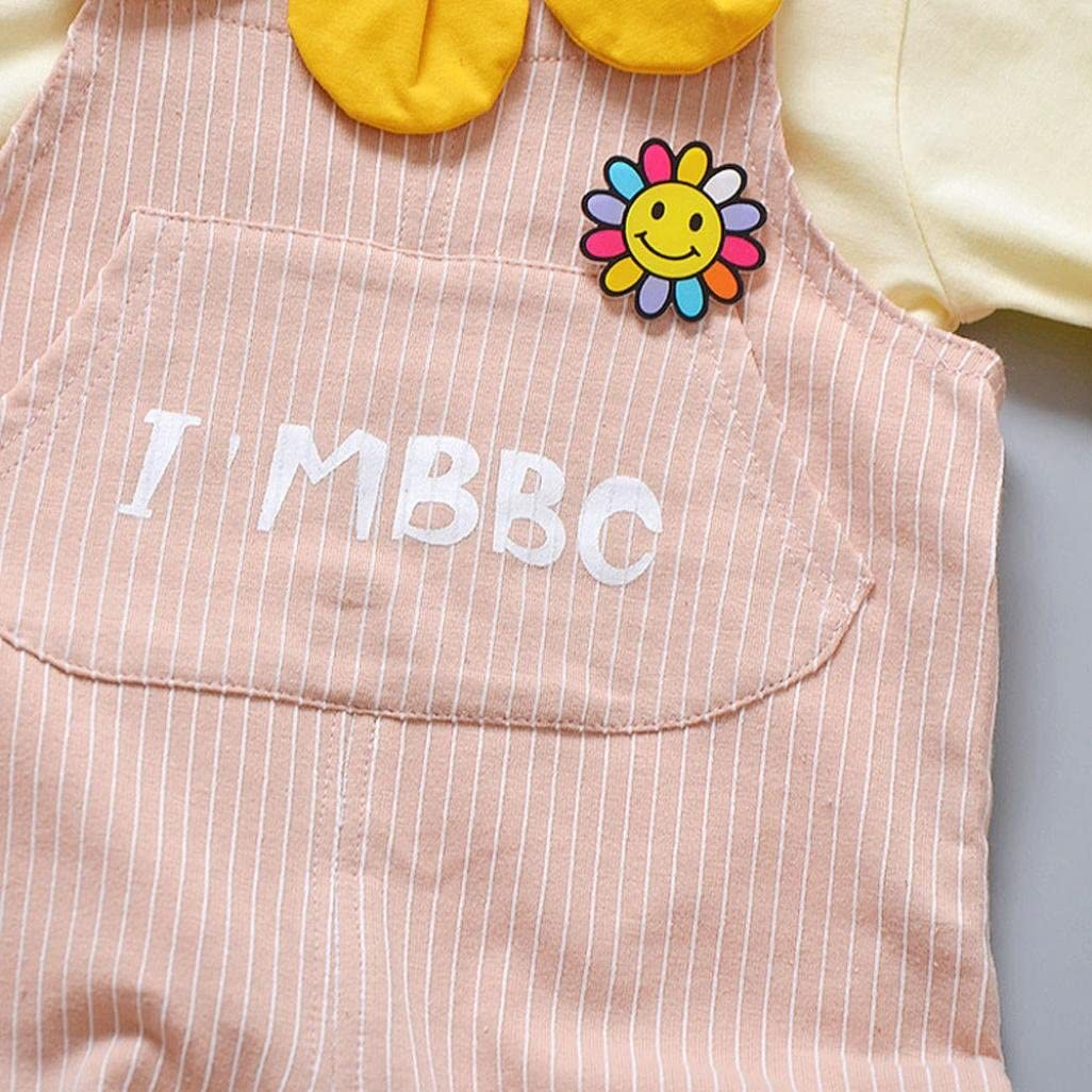 Striped Suspenders Two Piece Set I MBBC Baby Boys Girls Long Sleeve Solid Petal T-Shirt Tops kaiCran Clothing Baby Sets