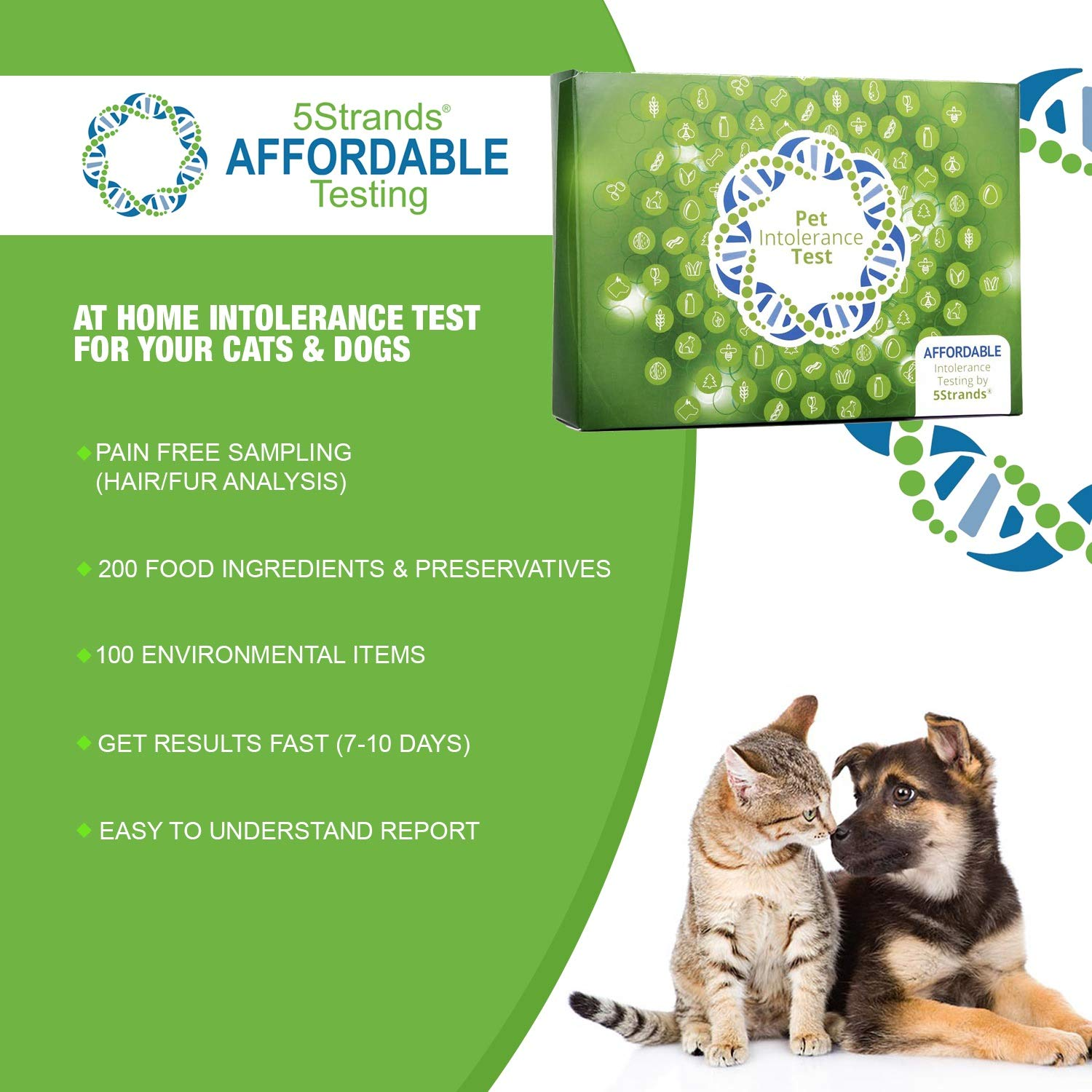 5Strands | Affordable Pet Test | 200 Food Ingredients & 100 Environmental Items Tested Cat & Dog | Allergy Sensitivity & Intolerance at Home Collection Test Kit | Hair Analysis | (Pet 300) by 5Strands (Image #2)