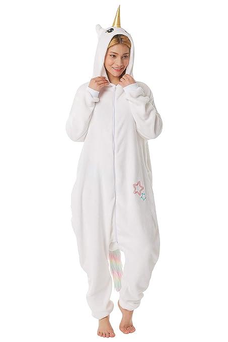 corimori- MIA El Unicornio Pijamas Animal Traje de Una Pieza Disfraz Adultos Invierno, Color blanco, Talla 180-190 cm (1852)