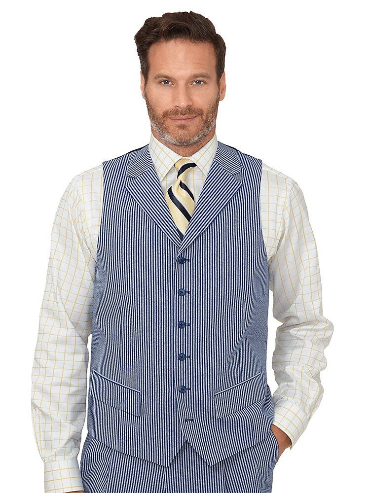 Paul Fredrick Men's Cotton Seersucker Stripe Vest Navy/Blue 50
