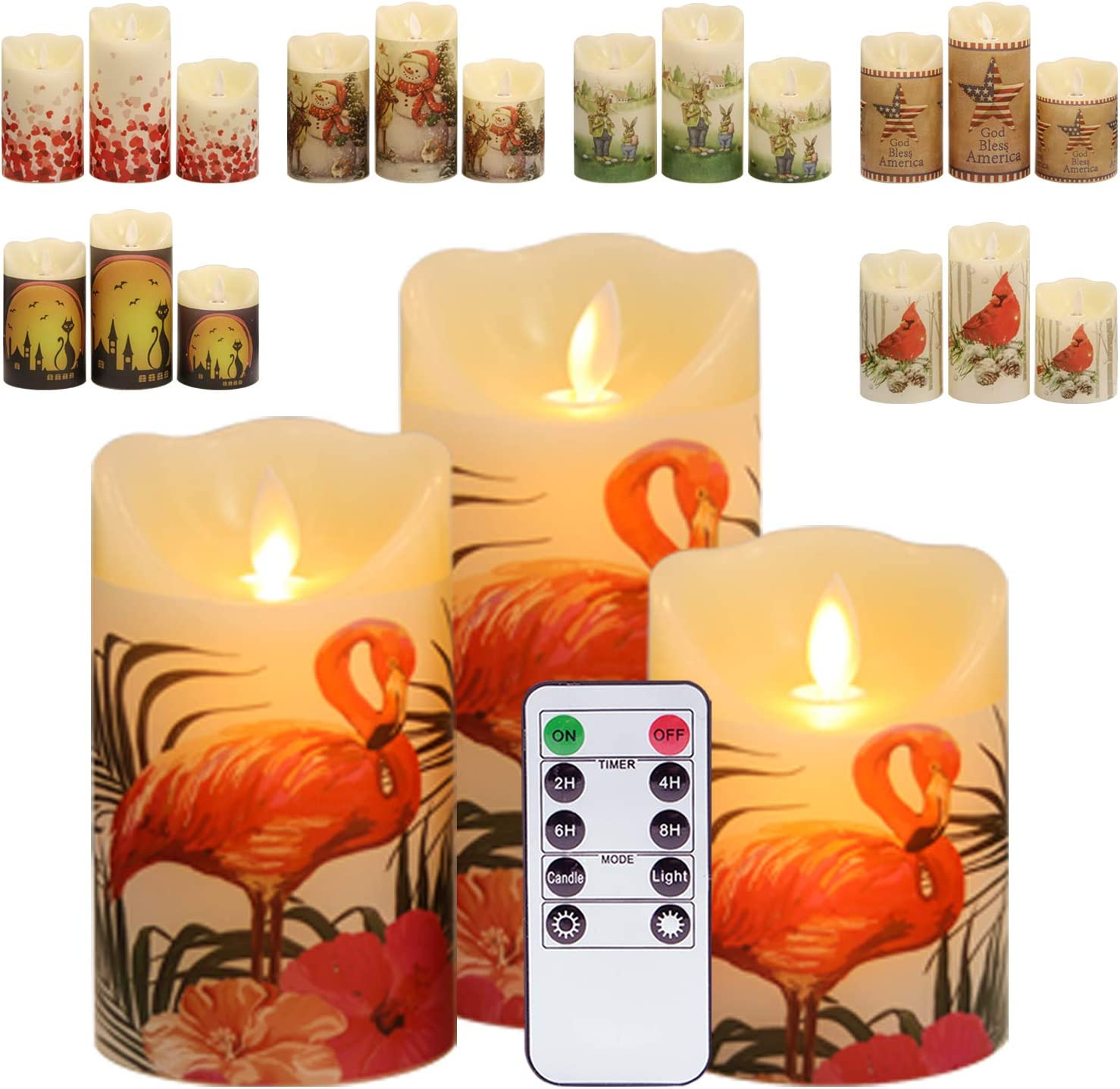 """Eldnacele Snowman Christmas Deco Flameless Flickering Candles with Automatical Daily Cycle Timer D3/"""" x H 4/"""" 5/"""" 6/"""" White Battery-Operated LED Pillar Candles Snowman Decals 3 Pack Snowman"""