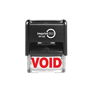 """Imprint 360 AS-IMP1019 - Void, Heavy Duty Commerical Quality Self-Inking Rubber Stamp, Red Ink, 9/16"""" x 1-1/2"""" Impression Size, Laser Engraved for Clean, Precise Imprints"""