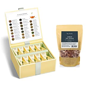 Tea Forte Tea Chest Tea Sampler + Amber Rock Sugar for Tea, 1 Pound Bag