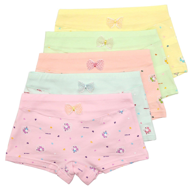 Girls' Panties Flower Underwear Colorful Boyshort Hipster Kids Briefs 5 Pack Set girl pantie flower XXL