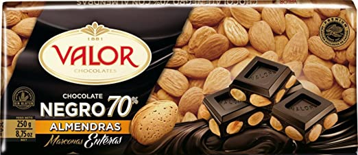Amazon.com : Valor Dark Chocolate Bar (70% Cacao) w/Mediterranean Almonds from Spain 250gr : Grocery & Gourmet Food
