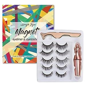 Hongik Ingun 5 Pair Magnetic Eyelashes with Eyeliner Natural Look Reusable False lashes eyeliner with Tweezers Waterproof Glue-Free for Women Makeup Gift, Upgraded