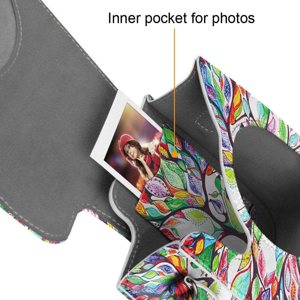 Mini 8+ Bolsa Protectora para C/ámara Instant/ánea Cuero Sint/ético de Primera Calidad con Correa Desmontable Mini 8 Fintie Funda para Fujifilm Instax Mini 9 /Árbol de Amor