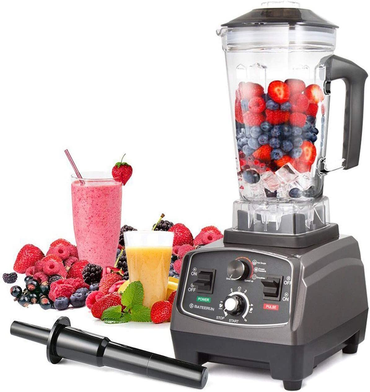Blender Professional Countertop Blender, 2000W High Speed Smoothie Blender/Mixer for Shakes and Smoothies, commercial blender Crusing Ice, Frozen Desser with Timer, 68OZ BPA-Free Tritan Jar, Smoothie Maker Grey BATEERUN (Model_2)