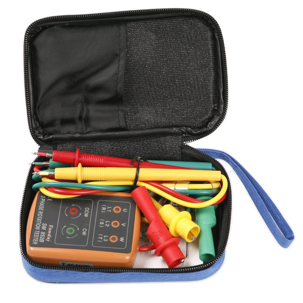 ATOPLEE 3 Phase Sequence Presence Rotation Tester Indicator Detector Meter with LED and Buzzer 60V~600V 3 Phase AC