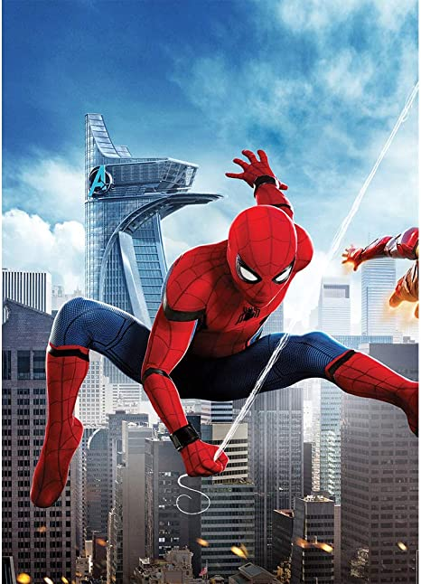 5x7 Vinyl Backdrops for Photography City Background Super Hero Spiderman Background for Birthday Party Customized Kids Backdrop for YouTube Videos