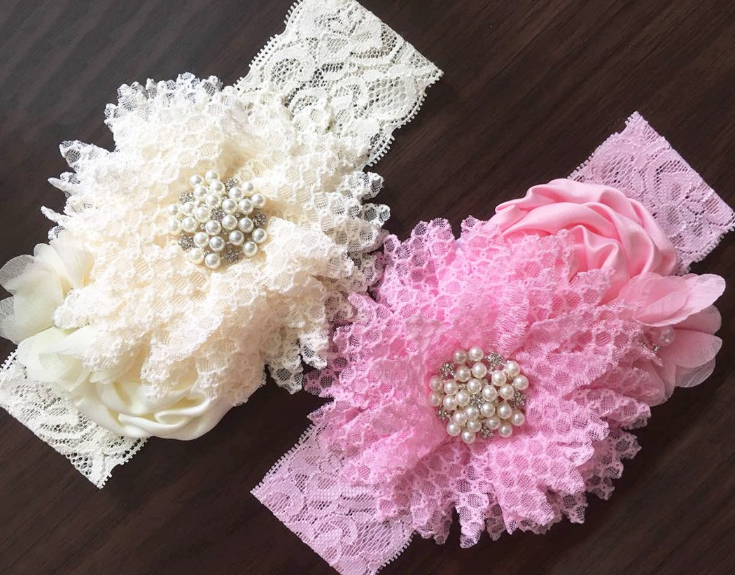 235dc636a1e DANMY Luxury Rhinestone Lace Headband Girls Rose Flowers Net Yarn Hair Band  Baby Big Bow Hair Accessories (Picture Color (2pcs))   Hair Accessories ...