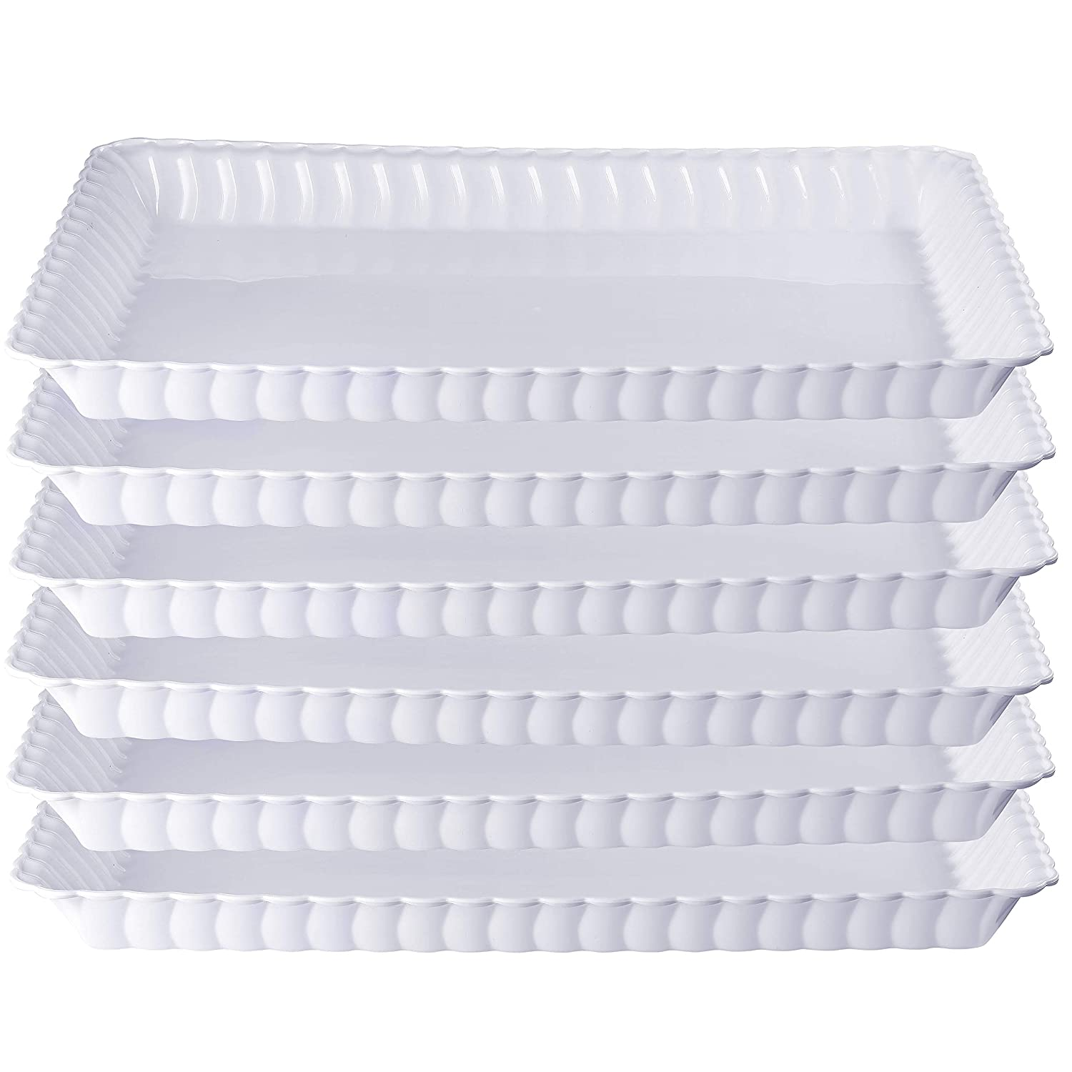 9 x 13 Disposable Rectangular tray Plastic Serving Trays -6 Pack The Perfect Platters And Trays For Parties White