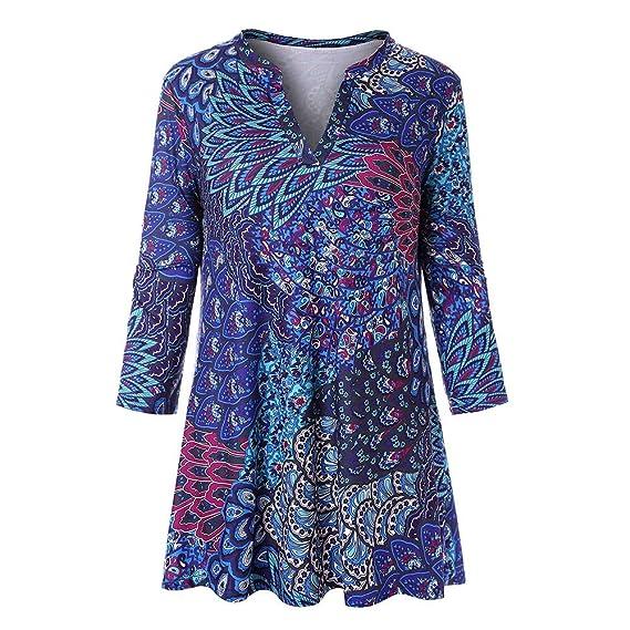 Yvelands Blusas para Mujer, Vestidos de Mujer Camiseta con Manga Larga con Cuello en V y Pavo Real Azul, ¡Ofertas de liquidación!: Amazon.es: Ropa y ...
