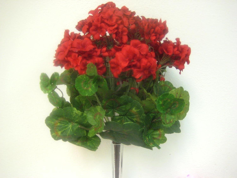 レッドゼラニウムブッシュ人工シルク装飾花人工Arrangement 18