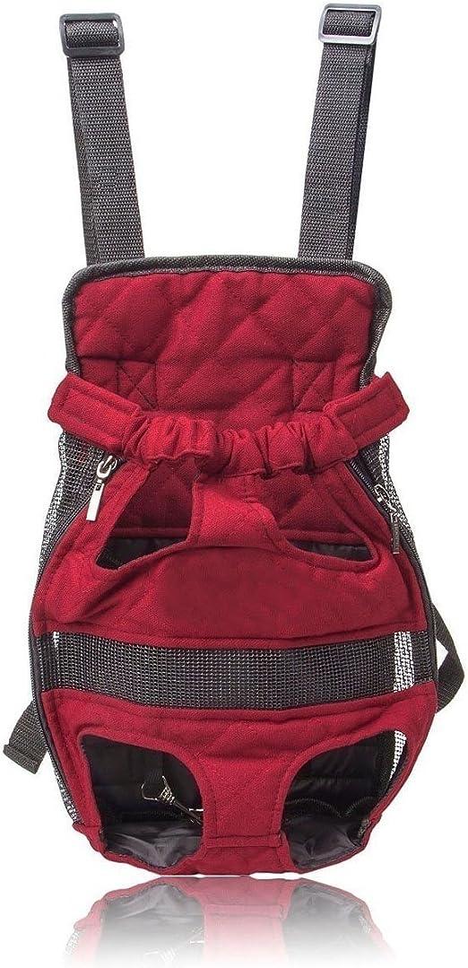 Mochila de Viaje Transportín a la espalda Bolso para llevar Mascotas Perros y Gatos, Color Vino Tinto: Amazon.es: Productos para mascotas