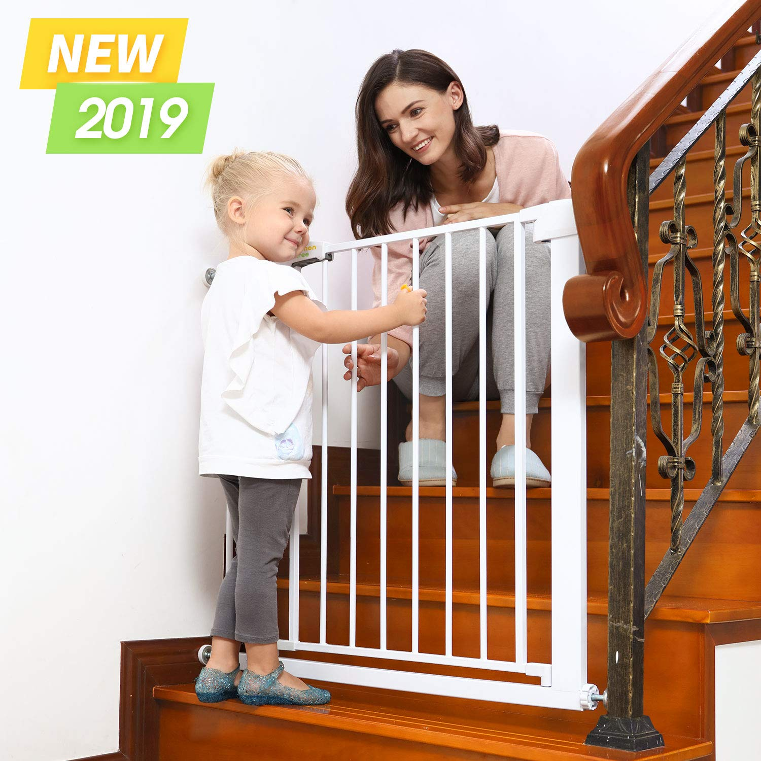 Baby Gates for Stairs and Doorways Dog Gates for The House, 30-40.5 inches - Indoor Safety Gates for Kids or Pets, Walk Through Extra Wide Tall Metal Gate Pressure Mount Auto Close by Lemon tree
