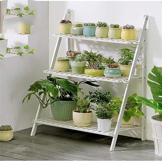 Soporte de la planta Escalera plegable de madera for exhibición de macetas de madera for plantas y macetas de 3 niveles - Escalera de flores con escalera de 3 escalones for la