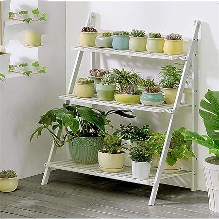 Soporte de la planta Escalera plegable de madera for exhibición de macetas de madera for plantas