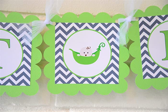 Lime Green And Gray Sweet Pea Baby Shower Banner, Customizable Sweet Pea  Banner, Peas