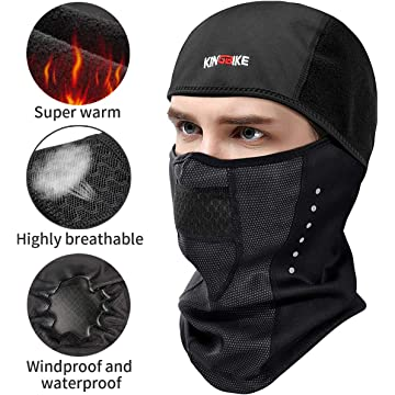 mini KINGBIKE Balaclava Ski Mask Motorcycle Running Full Face Cover Windproof Waterproof Neoprene With Micro-polar Fleece Masks Black for Men Women Warm Winter Cold Weather Gear Cycling Bike Skiing Thermal
