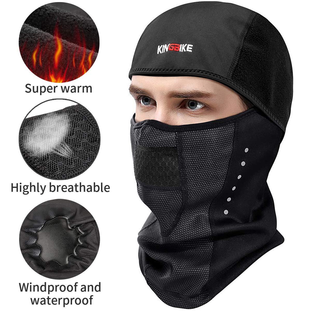 KINGBIKE Winter Ski Mask Balaclava Waterproof Windproof Face Mask Thermal Micro-Polar Fleece for Men Women Cold Skiing Motorcyle Mortorbike Bike Cycling Tactical (Black, Plus-Size) TSZ000376L