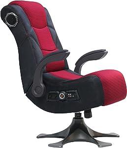 "X Rocker 2.1 Sound Wireless Bluetooth 4 Speaker Video Gaming Chair with Pedestal Base & High Tech Audio 4"" Subwoofer - Tilt & Swivel Design w/ Lumbar Support, Pivoting Arm Rests - Black/Red, 5129101"