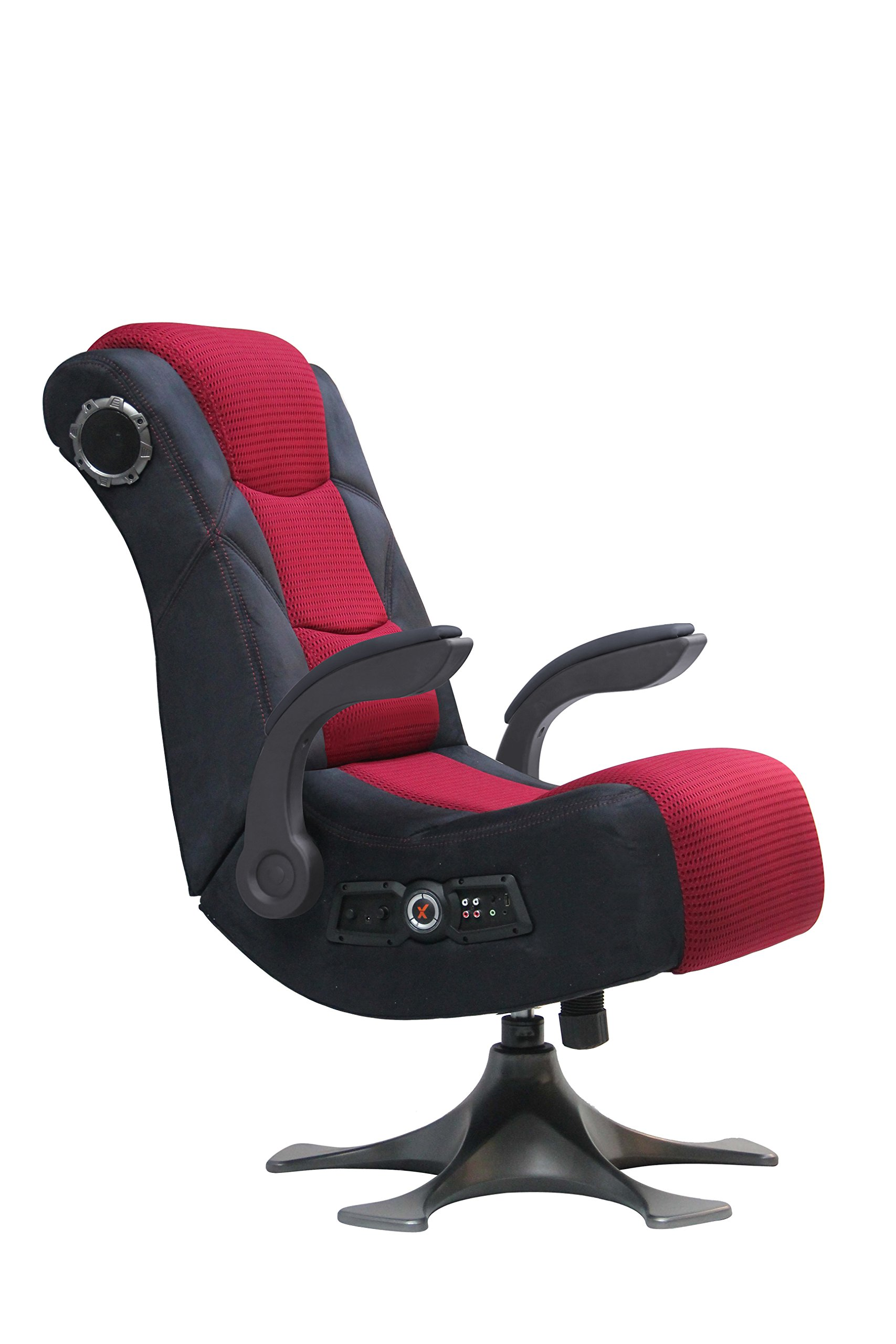 x rocker 5129101 pedestal video gaming chair 2 1 microfiber mesh black red ebay. Black Bedroom Furniture Sets. Home Design Ideas