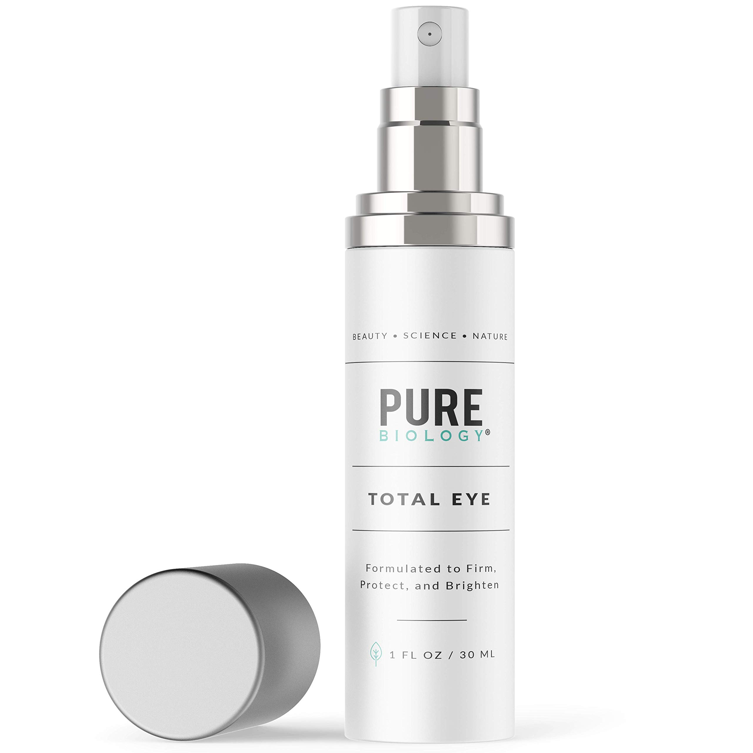Premium Total Eye Cream Serum with Vitamin C + E, Hyaluronic Acid & Anti Aging Complexes to Reduce Dark Circles, Puffiness, Under Eye Bags, Wrinkles & Fine Lines for Men & Women, 1 OZ by Pure Biology