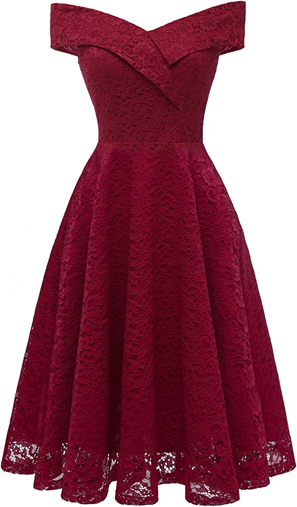 22ec2f01b634 ... Off Shoulder Cocktail Dresses. Women's Knee Length Illusion Floral Lace  Casual Dress Burgundy. Back. Double-tap to zoom