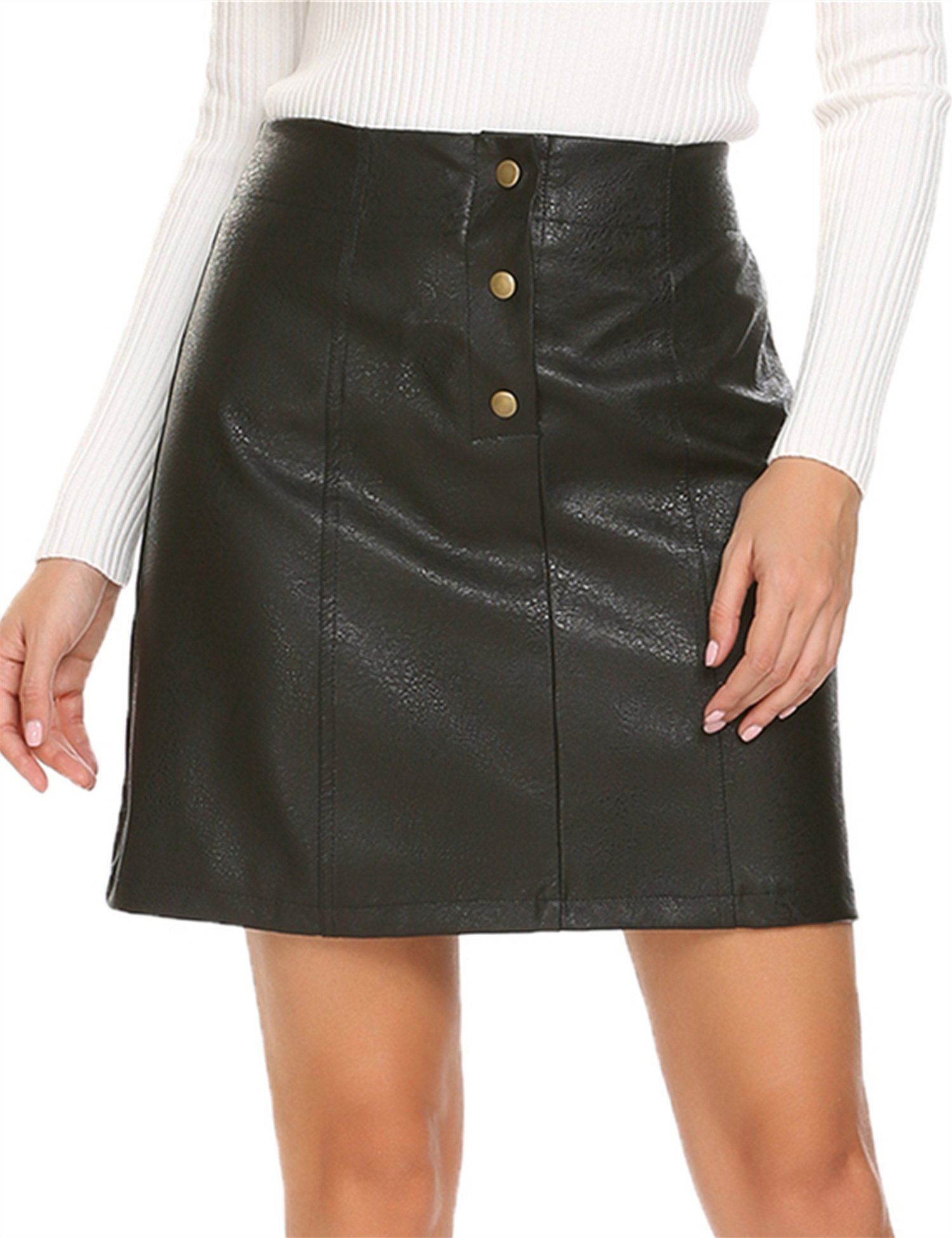 Mofavor Women's Button Front Classic High Waist A Line Faux Leather Mini Skirt