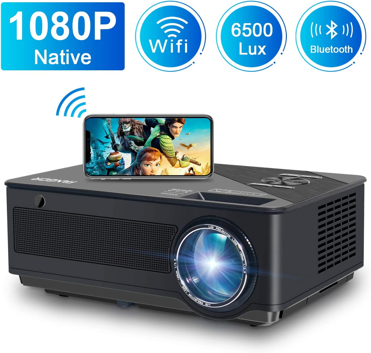 Proyector, FANGOR 6500 Lúmenes Full HD WiFi Proyector 1080P Nativo Vídeoproyector 4K Corrección Tropezoidal Cine en Casa Proyector Bluetooth 65000 Horas, Compatible con HDMI/USB/SD/VGA/AV/TV Box