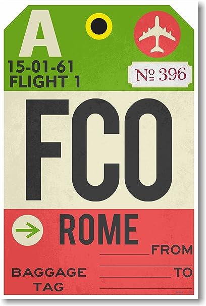 Amazon.com: Fco – Roma – Aeropuerto Tag – Nuevo Cartel de ...