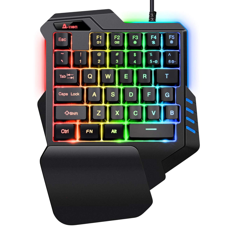 A-TION G30 Mini Teclado, USB Cableado profesiona Una Sola Mano Teclado de Juego con LED Luces 35 Teclas, RGB, Vistoso para el Juego ...