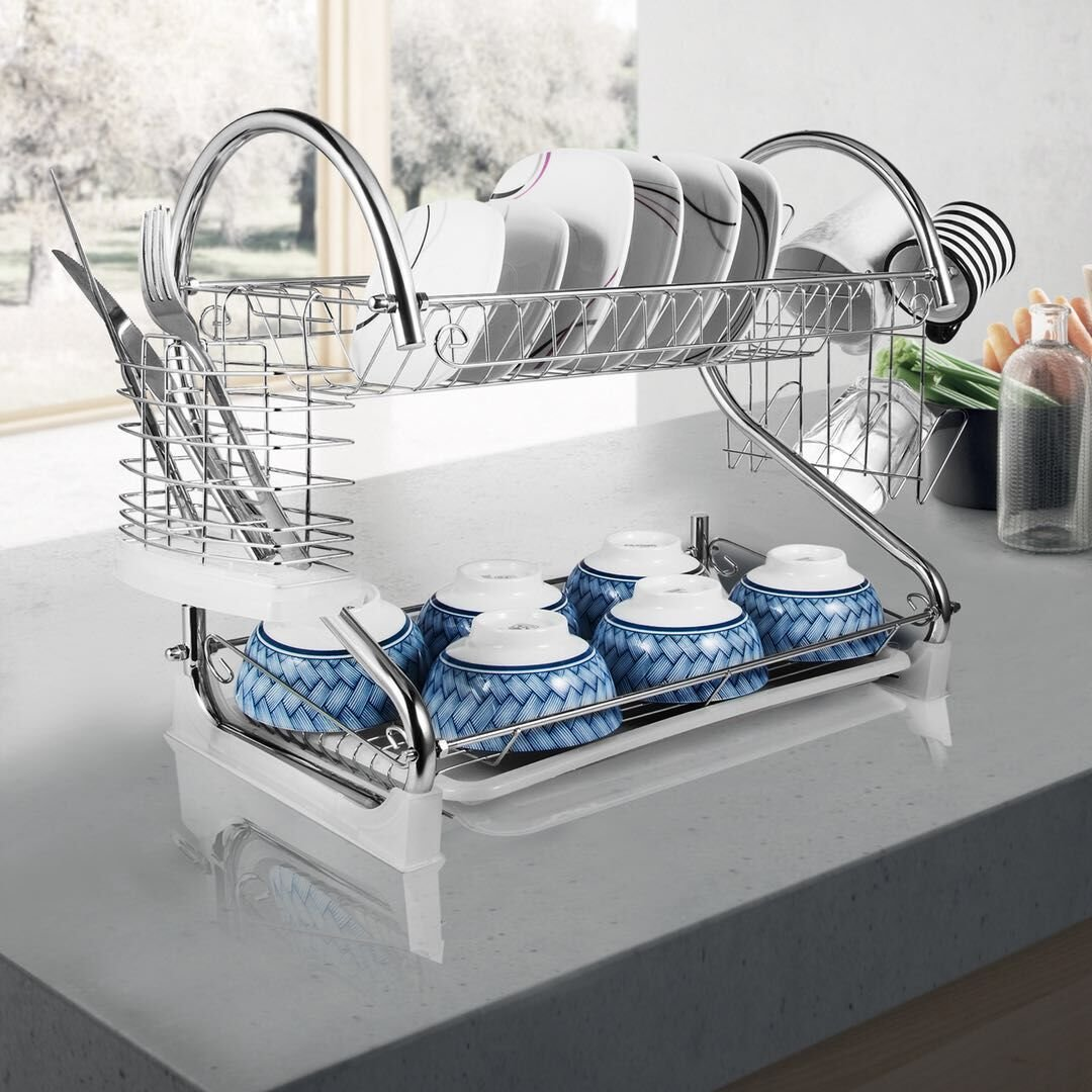 2-Tier Dish Rack and DrainBoard, 20.2'' x15'' x10'' Kitchen Chrome Cup Dish Drying Rack Tray Cultery Dish Drainer