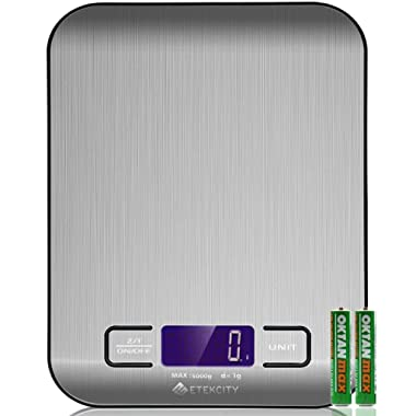 Etekcity Digital Kitchen Scale Multifunction Food Scale, 11lb/5kg, Silver, Stainless Steel (Batteries Included)