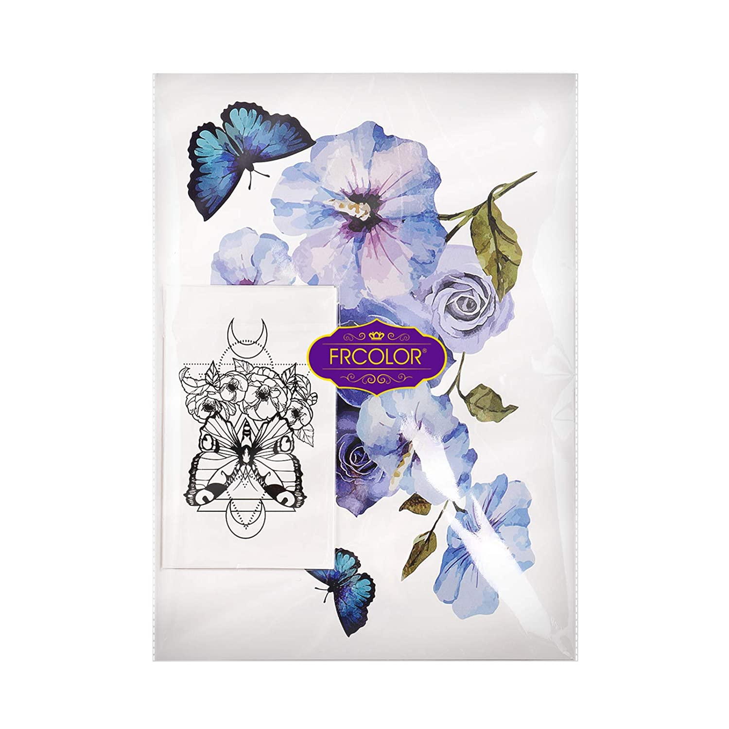 Body Stickers, Large 3D Flower Rose Butterflies Temporary Flower Tattoos Stickers, 30 Sheets