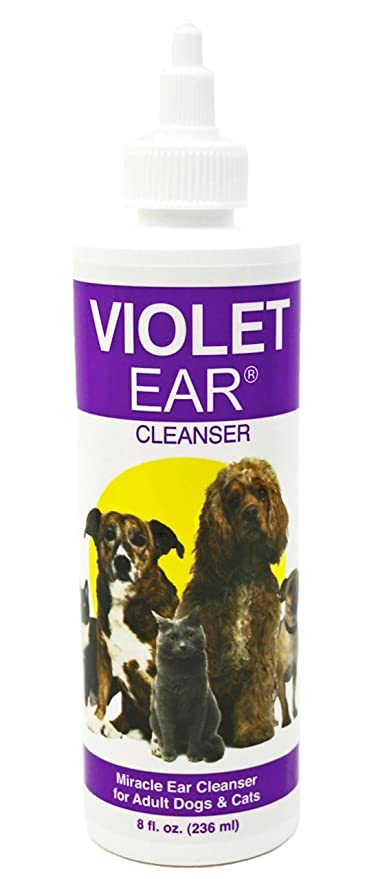 Violet Pet Ear Cleaner, 8 oz Dog Ear Infection Treatment Medicine for  Yeast, Fungal and Bacteria  Relief After 1st Flush