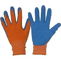 Kids gardening gloves for age 3-12, 3 Pairs Kids Rubber Work Gloves for girls boys (Size 2, Orange)