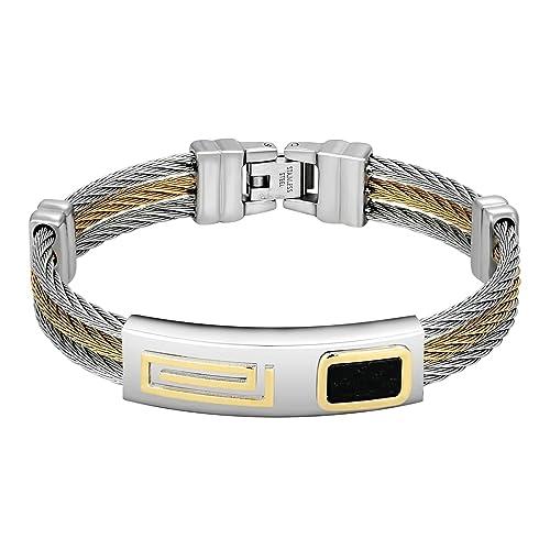 bracelet argent et noir homme