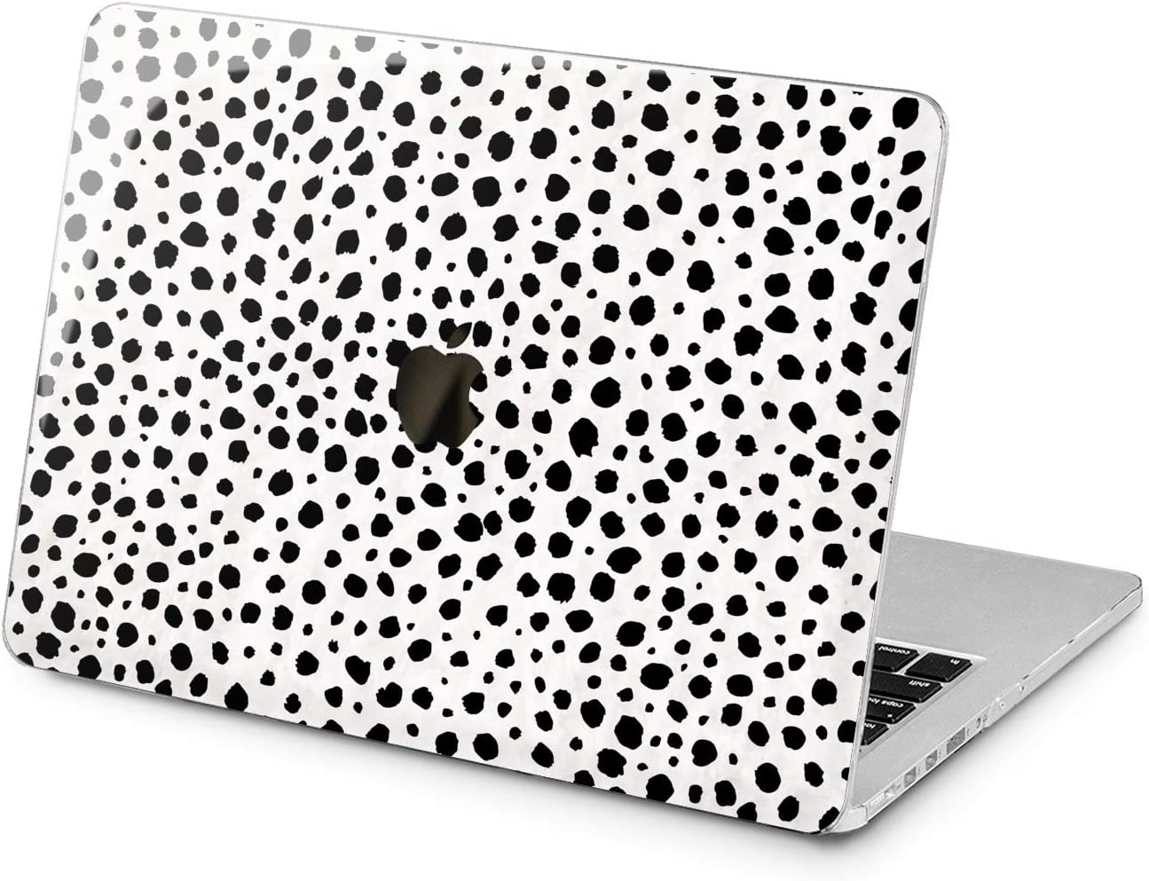 "Cavka Hard Shell Case for Apple MacBook Pro 13"" 2019 15"" 2018 Air 13"" 2020 Retina 2015 Mac 11"" Mac 12"" Fancy Black Trendy Cover White Protective Design Abstract Dot Leopard Laptop Plastic Print Cow"