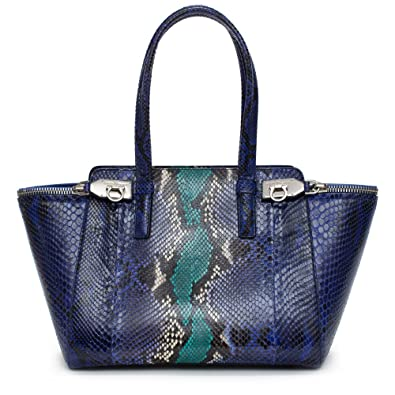 Amazon.com  Salvatore Ferragamo Python Verve Tote Purple Silver Bag New   Shoes e010063b3f257