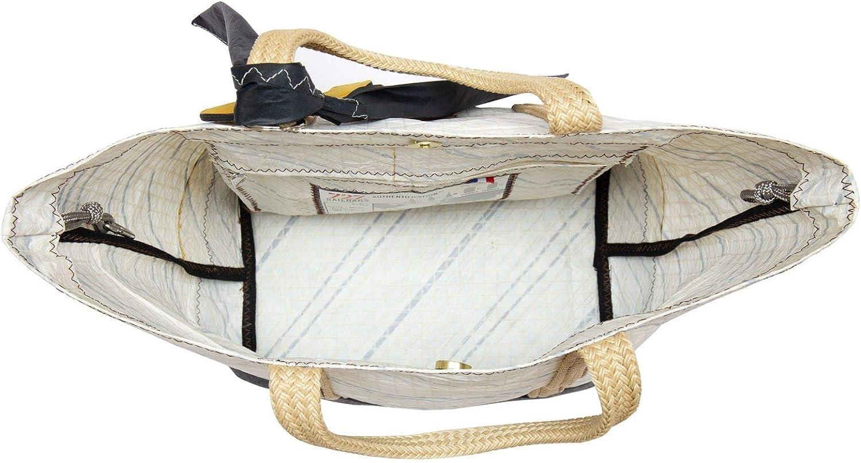 727sailbags Damen Handtasche Sweetie Gris Granit, Hell, Material aus 100% recyceltem Schiffssegel (Genua Mittelmeer) Hell