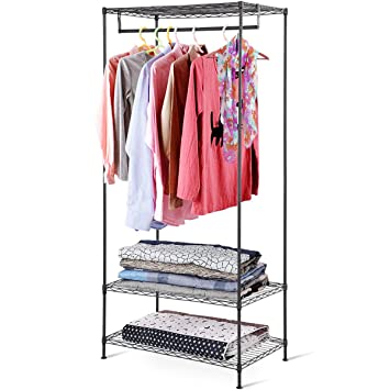 Tangkula Garment Rack 3 Tier Heavy Duty Diy Portable Home Wire Shelving Clothes Hanger Closet Organizer