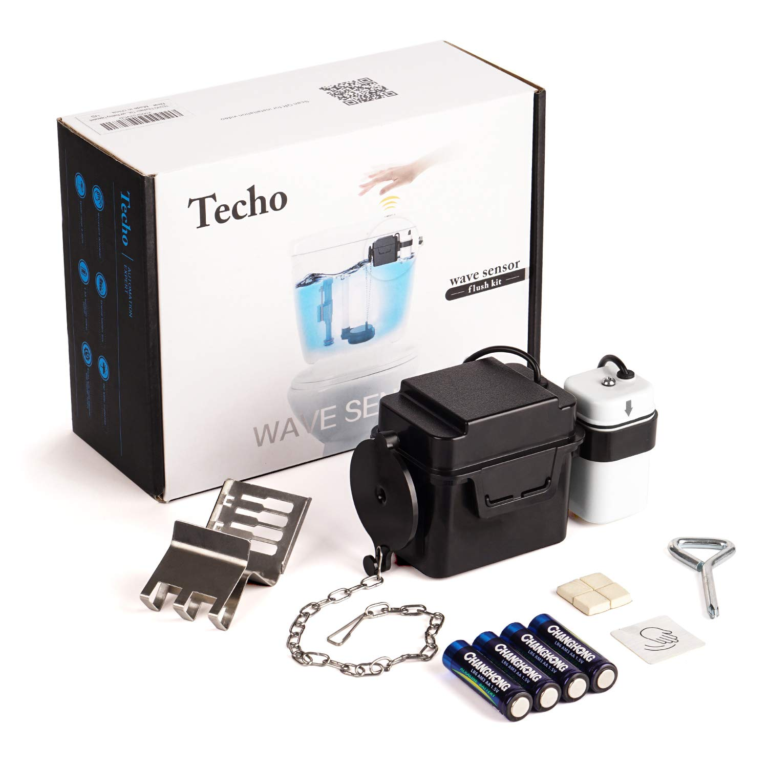 Techo Touchless Toilet Flush Kit with 8'' Sensor Range, Adjustable Sensor Range and Flush Time, Automatic Motion Sensor Toilet Flush Kit Powered by Batteries by TECHO