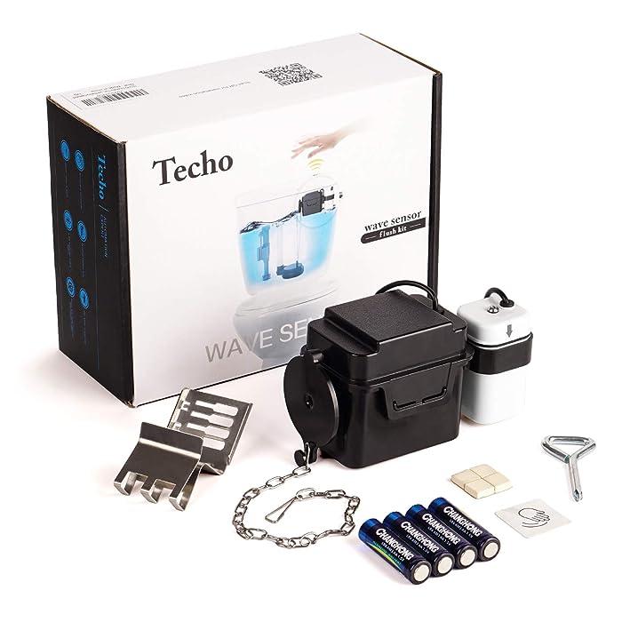 "Techo Touchless Toilet Flush Kit with 8"" Sensor Range, Adjustable Sensor Range and Flush Time, Automatic Motion Sensor Toilet Flush Kit Powered by Batteries"