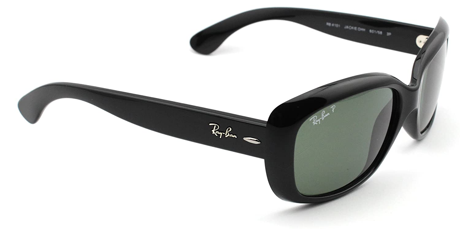 f6a5a1f488 Amazon.com  Ray-Ban RB4101 601 58 JACKIE OHH Sunglasses Black Frame    Polarized Green Lens  Clothing