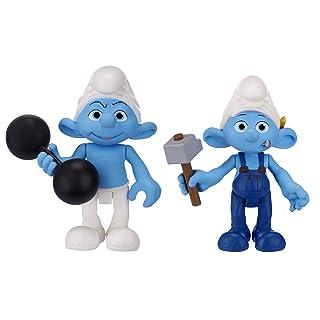 Jakks Pacific - Confezione di personaggi del film dei Puffi, serie n. 2: Puffo forzuto e Puffo inventore